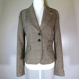 [MICHAEL MK] Tan Plaid 2-Button Blazer Size 6